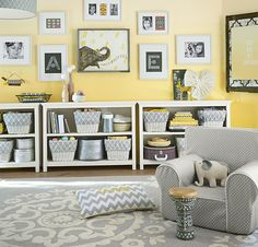 Love the gray and yellow combo, along with all the storage. | Guest Post: Staying Organized with Kids | Pottery Barn Inside & Out