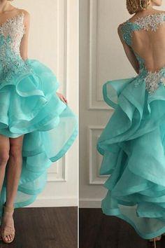 Blue Prom Dress,High Low Prom Dress,Lace Prom Dresses,Sheer Back Prom Dress,Organza Prom Dress,Unique Prom Dress,Cheap Prom Dress,Long Prom Dress HG203