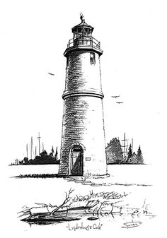 """Lighthouse Cove"" Lighthouse Cove (population is a scenic lakeside community located at the easternmost edge of the town of Lakeshore in Essex County, On Lighthouse Sketch, Lighthouse Painting, Pencil Art Drawings, Art Sketches, Urban Sketching, Pen Art, Pyrography, Line Drawing, Original Art"