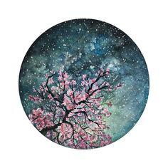 Miniature Gouache Painting, Spring Seasonal Blossom Tree - Lele - Space Everything Cherry Blossom Watercolor, Watercolor Circles, Watercolor Paintings, Watercolour, Galaxy Painting, Galaxy Art, Vinyl Record Art, Vinyl Art, Gouache Painting
