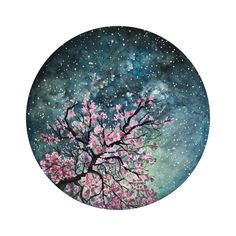 Miniature Gouache Painting, Spring Seasonal Blossom Tree