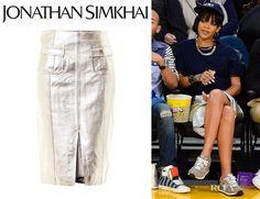 Rihanna's Jonathan Simkhai Metallic Leather Pencil Skirt