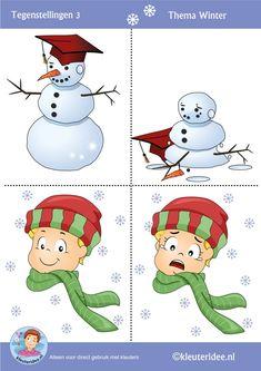 Tegenstellingen voor kleuters 3, thema winter, Preschool winter opposites, free printable.