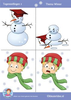 Tegenstellingen voor kleuters 3, thema winter, Preschool winter opposites, free printable.