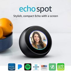 About the Product Echo Spot is designed to fit anywhere in your home. Use generation far-field voice recognition to watch video flash briefings, see … Sports Scores, Amazon Prime Day, Alarm Set, Alarm Clock, Made Video, Cloud Based, Amazon Echo, Electronic Music, Speakers
