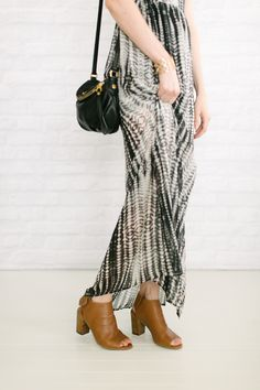 maxi dress open toe booties