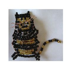 Happy Black and Gold cat fully hand beaded brooch