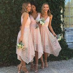 Blush Lace Summer Dresses for Bridesmaids