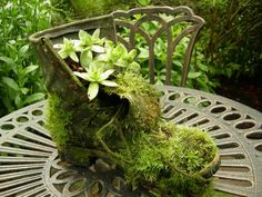 Here is a fun project for your garden, that is very frugal, and will help you preserve memories too. Create garden art with old shoes!