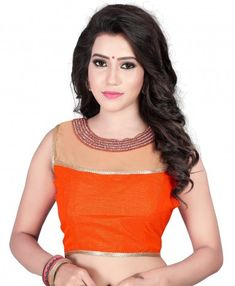 489a2d86ea03d0 Buy Kuvarba Fashion Orange Banglori Silk Blouses at low prices in India  only on Winsant.