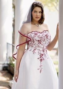 Strapless satin A-line gown with beaded lace and scalloped sweetheart neckline. Chapel train. White/Apple and Solid White available in limited stores and online. Shown in Apple. Missy: Style T8763R. Sizes 0-16..