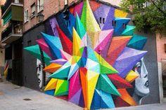 MMM Exclusive: Vibrant Geometric Street Art by Okudart in Madrid - StreetArt - 3d Street Art, Murals Street Art, Amazing Street Art, Best Street Art, Mural Art, Street Artists, Amazing Art, Graffiti Art, Art Banksy