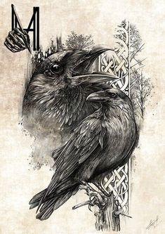 MHave Design & Ink (Artwork) on Behance – – Norse Mythology-Vikings-Tattoo Norse Tattoo, Celtic Tattoos, Viking Tattoos, Viking Tattoo Sleeve, Crow Art, Raven Art, Tattoo Sketches, Tattoo Drawings, Raabe Tattoo