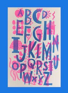 fluroecent pink and cornflower blue risograph alphabet poster
