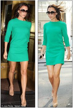 Posh in green shift dress