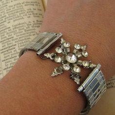 Handmade bracelet from vintage pin & a stretch watchband - kinda different!