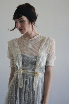 edwardian overdress - highly unlikely that it's actually a wedding dress, but it might be actual vintage. be cute over a colored slip with some kneehighs and t-straps. // 1900s Victorian Dress . Sheer Swiss Dot Wedding Gown . by VeraVague