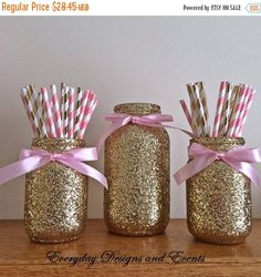 ON SALE Pink and gold mason jar set pink by EverydayDesignEvents