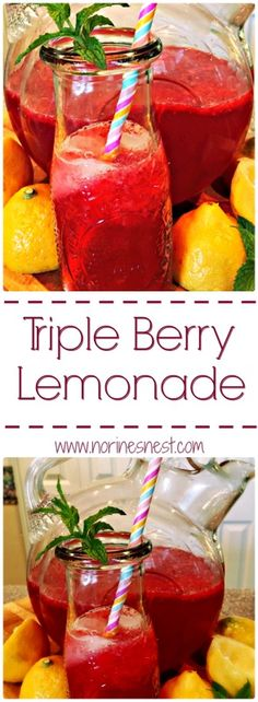 Triple Berry Lemonade is made with fresh squeezed lemons and blended berries. It combines to create the most amazing fresh lemonade you will EVER have! It's out of this world!!!
