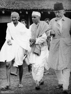 Mahatma Gandhi, Pandit Jawaharlal Nehru and Maulana Abul Kalam Azad