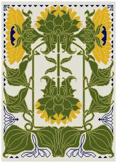 Eine Anpassung der eine Sonnenblume design aus deutschen Kalendern 1902 im Jugendstil getan. Kanarienvogel gelb, grün und blau die Highlights.  Wählen