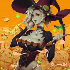 Witch Mercy - Halloween Overwatch LR 01 by Zeronis on DeviantArt Overwatch Mercy, Overwatch Fan Art, Overwatch Genji, Character Concept, Character Art, Concept Art, Character Design, Fanart, Mercy Witch