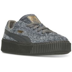 Puma Women's Suede Platform Elemental Casual Sneakers from Finish Line ($100) ❤ liked on Polyvore featuring shoes, sneakers, steel gray, puma footwear, platform trainers, platform sneakers, suede shoes and suede platform shoes