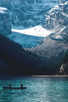 Summer time in Lake Louise. Canoeing on the lake - Alberta, Canada