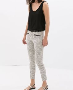 TROUSER WITH CONTRASTING WAISTBAND Zara