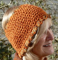Orange Crochet Adult Headband  Handmade Original by hatsbyanne1942, $25.00