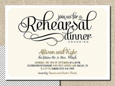 wedding rehearsal dinner invitation DIY by lepoetikstudio on Etsy, $18.00