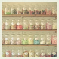 Colourful candy jars on display. just like the Queens Café!