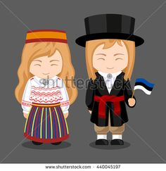Estonians in national dress with a flag. A man and a woman in traditional costume. Travel to Estonia. People. Vector flat illustration.