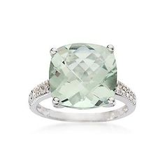 Ross-Simons - 6.00 Carat Green Amethyst Ring With Diamonds In 14kt White Gold | More here: http://mylusciouslife.com/bling-fling-engagement-ring-pictures/
