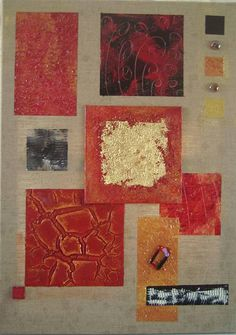 Tableau peinture abstrait rouge or dor sirius tableau - Peinture geometrique moderne ...