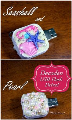 How to Make and Decorate a Decoden USB Storage Flash Drive #crafts, #idea, #tutorial #project #DIY #office, back to school supplies