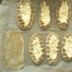 Making Karelian Pastries (tradition food) Finland Pie Crust Dough, Pizza Dough, Half Circle, Circle Shape, Food N, Food And Drink, Baking And Pastry, Dough Recipe, Marimekko