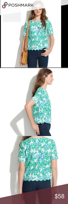 """MADEWELLPAINTED LACE-BLOOM TOP What could be better than a sweet floral top! A sweet floral top covered in an irresistibly bright floral print. T-shirt fit.•Cotton/nylon.•Dry clean. Pull over styling scalloped bottom scallops sleeves. Crew neckline. Measurements taken flat bust 20"""" length 21 1/2"""" Madewell Tops Blouses"""