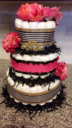 Kate Spade themed diaper cake - baby shower