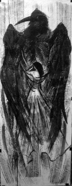"""Angelica Shust~ El poema de Lermontov Ilustración MU """"El Demonio"""""""