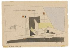 Lyonel Feininger UNTITLED (SAILING SHIP) 7.56 X 11.02 in (19.2 X 28 cm) Medium:  watercolour and pen and ink on paper Creation Date:  1939 Signed