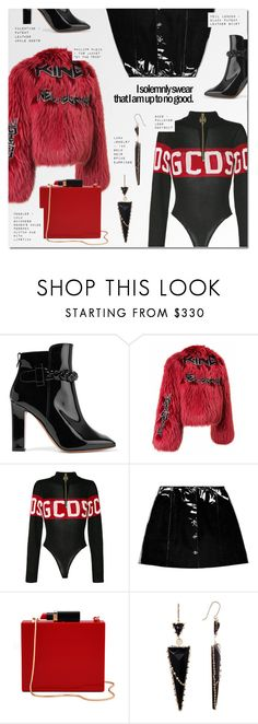 """UP TO NO GOOD"" by larissa-takahassi ❤ liked on Polyvore featuring Valentino, GCDS, Veil London, Lulu Guinness, Lana Jewelry, patentleather, bodysuit, fur and MINISKIRT"