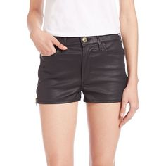 True Religion Ava High-Rise Coated Zip Shorts ($210) ❤ liked on Polyvore featuring shorts, apparel & accessories, black coated, black high waisted shorts, highwaist shorts, high waisted zipper shorts, highwaisted shorts y pocket shorts