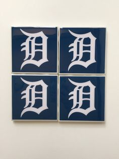 Handmade All White Detroit D Ceramic Coaster by HashtagCoasters