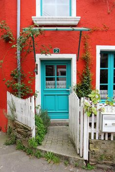 (100+) Tumblr blue/turquoise door, red house, #2