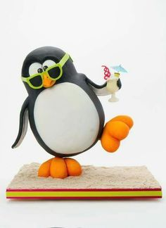 Party Penguin Cake - For all your cake decorating supplies, please visit… Fondant Figures, Fondant Cakes, Cupcake Cakes, Fondant Bow, Fondant Tutorial, Fondant Flowers, Gravity Defying Cake, Gravity Cake, Fancy Cakes