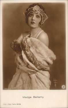 Madge Bellamy, Silent Era Film Actress Hollywood Chic Glamour, Flapper Bejeweled Headdress & Fur, Original 1920s Art Deco Rare Postcard