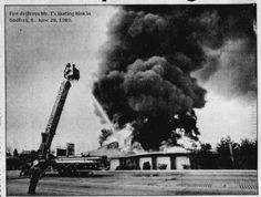Fire destroys the Mr. T's skating rink in Godfrey, on June 28, 1989. The skating rink first opened as Playmor Skating Rink, in 1956.