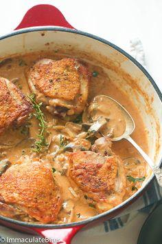 Chicken and mushroom in garlic sauce