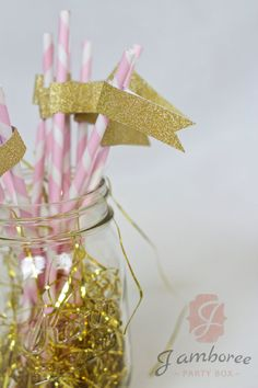 Pink Straw With Gold Flag Pink Paper Straw by JamboreePartyBox